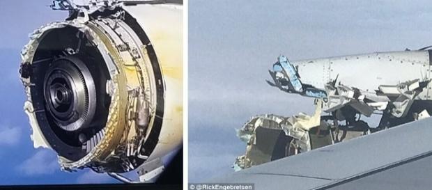 Carcasa unui motor de la un avion Air France s-a DEZINTEGRAT deasupra Atlanticului - Foto: Daily Mail