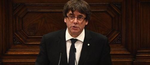 Carles Puigdemont, durante la comparecencia de hoy en el Parlament