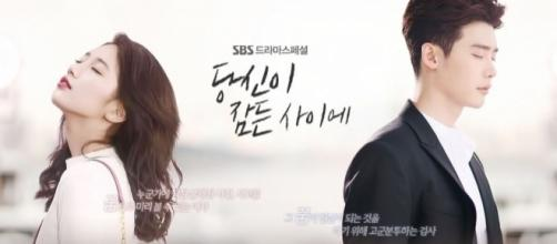 """Lee Jong Suk and Bae Suzy in """"While You Were Sleeping"""" (via promo poster by SBS)"""