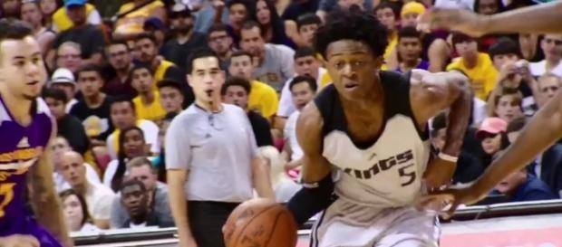De'Aaron Fox and the Kings host the Portland Trail Blazers in preseason action on Monday. [Image via NBA/YouTube]