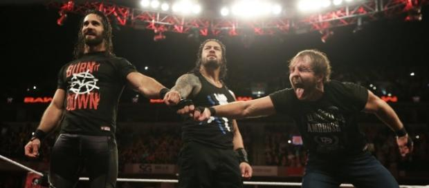 "The Shield made their official reunion on the latest episode of WWE ""Raw"" in Indianapolis. [Image via WWE/YouTube]"