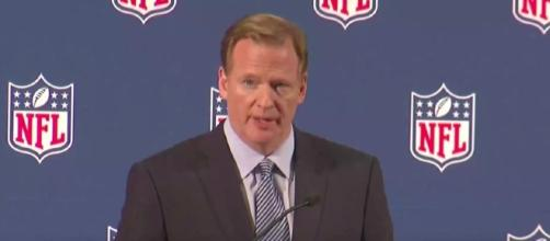 Goodell thinks that everyone should honor the country and its military by standing during the anthem. [Image via Wochit News/YouTube screencap]