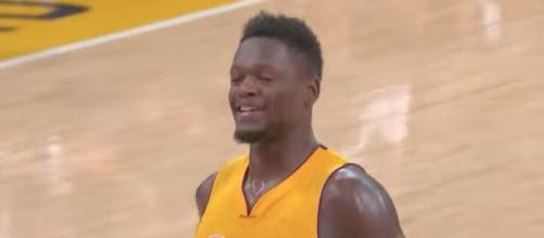 Julius Randle and the L.A. Lakers host the Utah Jazz on Tuesday night. [Image via NBA/YouTube]