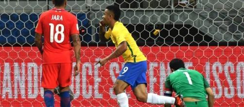 L'esultanza di Gabriel Jesus in occasione del suo primo gol contro il Cile