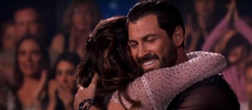 Maks Chmerkovskiy gives Vanessa Lachey a hug after 'DWTS' performance. (Image Credit: Dancing with the Stars/YouTube)