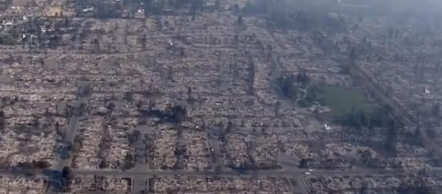 Devastation casued by the wildfires in Northern California: Image via Youtube(CBS News)
