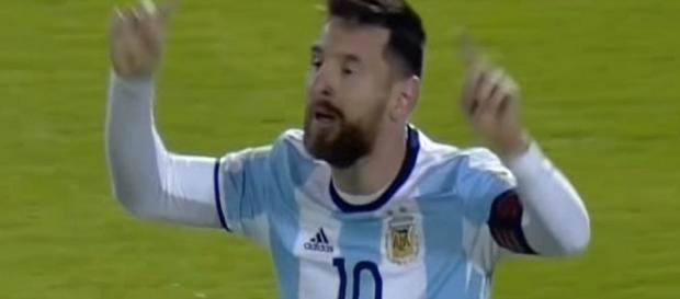 Lionel Messi celebrating his thhird goal against Ecuador/ Photo: screenshot via GOLAZO TV channel on YouTube
