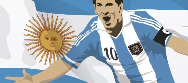 Messi con el número 10 y la bandera de Argentina. (designed by Vexels)