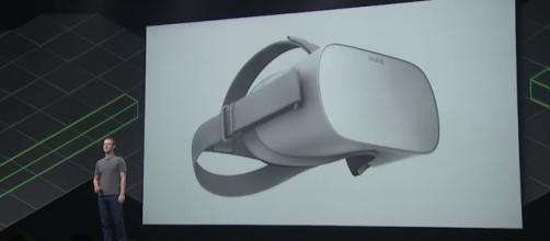 Facebook CEO Mark Zuckerberg introduces the Oculus Go on Wednesday's Oculus Connect 4 event. | (Image Credit: CNET/YouTube)
