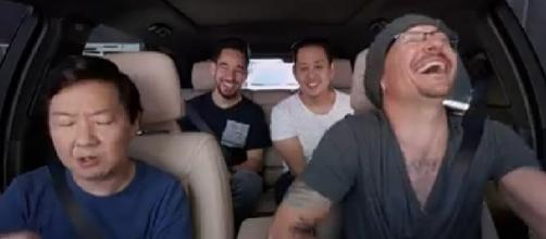 "Linkin Park released the episode of ""Carpool Karaoke"" with Chester Bennington and Ken Jeong [Image via Linkin Park/Facebook video screencap]"