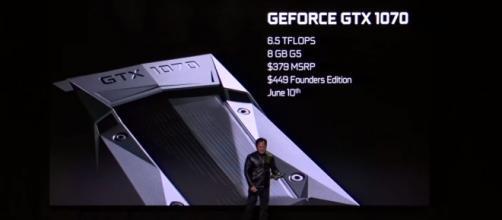 NVIDIA CEO Jen-Hsun Huang announces the GeForce GTX 1070 (via YouTube - NVIDIA)