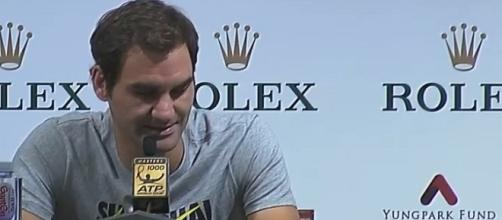 Roger Federer during a press conference in Shanghai/ Photo: screenshot via WeAreTennis channel on YouTube