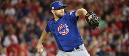 Wade Davis fue el héroe y con su brazo llevó a los Cubs a la NLCS. Chicago Tribune.com.