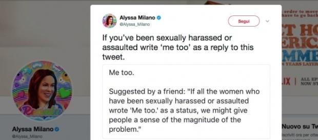 Il tweet di Alyssa Milano con cui invita le donne che hanno subito molestie a rispondere 'metoo'