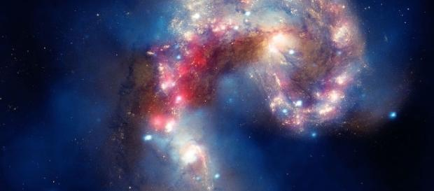 This composite image of the Antennae galaxies. [image via Wikimedia Commons, Smithsonian Institution from United States]