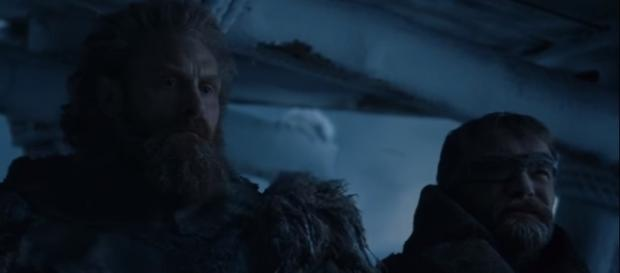 """Tormund and Beric watched as the Night King crumpled The Wall in the season 7 finale of """"Game of Thrones."""" (Photo:YouTube/Ben Quincy-Shaw)"""