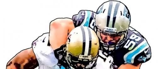 Carolina Panthers Luke Kuechly - New Orleans Saints Marques Colston (Image by Jack Kurzenknabe|Flickr)