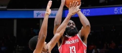 James Harden and the Rockets host the Spurs in a final preseason game on Friday night. [Image via NBA/YouTube]