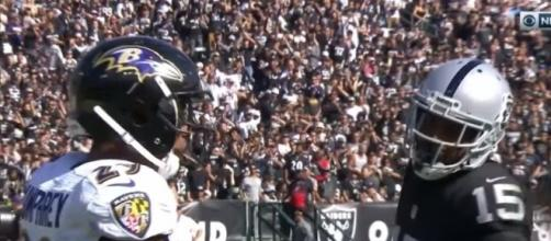 Michael Crabtree after a catch against the Baltimore Ravens (Image Credit: NFL/YouTube)