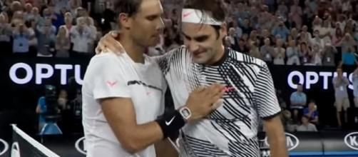 Nadal and Federer at the end of the 2017 Australian Open/ Photo: screenshot via Uday channel on YouTube