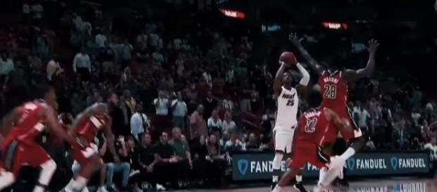 Jordan Mickey's game winning shot against the Washington Wizards [Image Credit: Miami HEAT/YouTube]