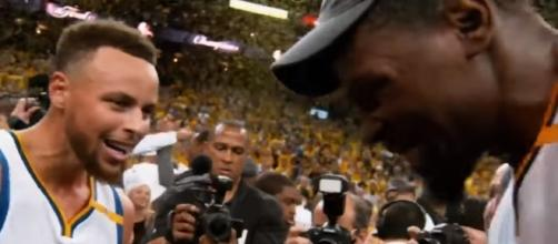Stephen Curry and Kevin Durant celebrates after winning the 2017 NBA Championship ( Image Credit: NBA Highlight Factory/YouTube)