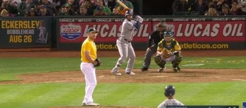 Yonder Alosno in his first game with the Seattle Mariners. -- YouTube screen capture / MLB