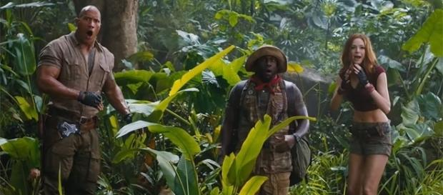 "Dwayne ""The Rock"" Johnson, Kevin Hart, Karen Gillan, and Jack Black star in the upcoming ""Jumanji"". (Image Credit: FilmSelect Trailer/Youtube)"