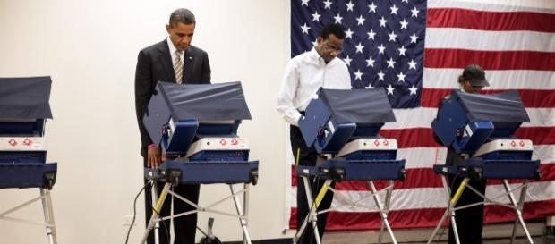 Former President Barrack Obama casts his vote during a past election. [image credit: Pete Souza/Wikimedia commons]