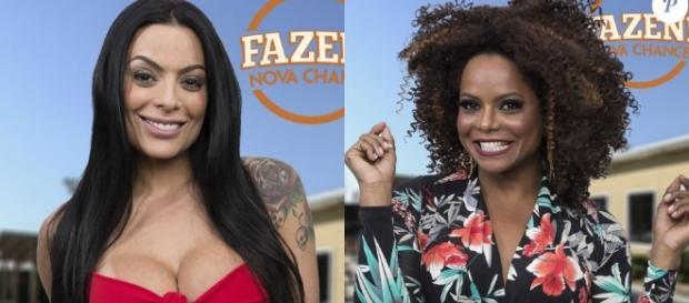 Monique Amim e Adriana Bombom agitaram os edredons em ''A Fazenda''