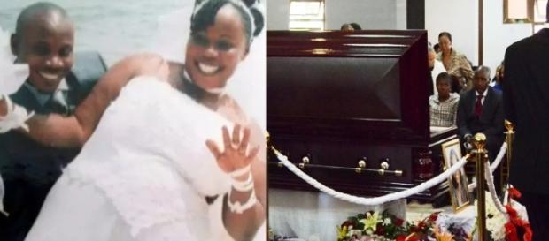 Noela e o marido que encomendou sua morte. Mas ela não morreu e foi a seu funeral