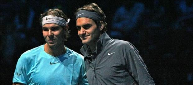 Rafael Nadal and Roger Federer alongside each other. [Image Credit: Marianne Bevis/Flickr]