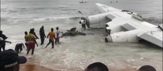 Wreckage of a chartered cargo plane. Image Credits: euronews/ YouTube screencap