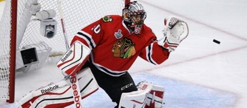 Goalie Corey Crawford is expected to start tonight for the Chicago Blackhawks as they host Nashville. [Image via NHL/YouTube]
