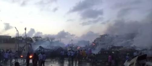 Massive destruction in Mogadishu due to truck bomb explosion. [Image Credit: Al Jazeera English/ YouTube screencap]