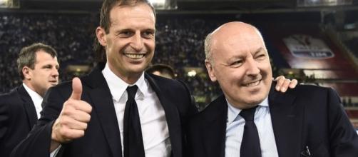 Massimiliano Allegri, mister della Juventus dal 2014, e Beppe Marotta, Ad dei bianconeri dal 2010.