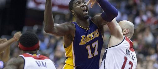 Roy Hibbert as a member of the Lakers (image Credit: Keith Allison/Flickr)