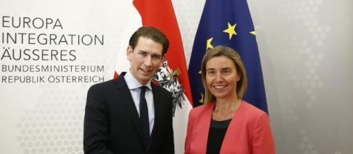 Sebastian Kurz e l'italiana Federica Mogherini