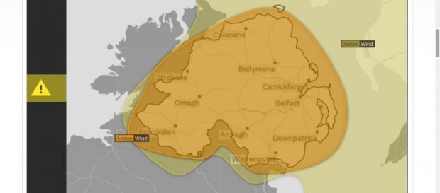 Amber and yellow warning issued over the UK as hurricane Ophelia approaches. Image Credit: Met Office/ Met Weather Forecast screencap