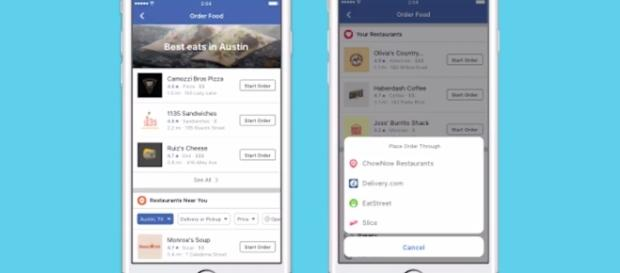 The new 'Order Food' feature, as seen on the Facebook iOS app version. | Credit (CNET/YouTube)