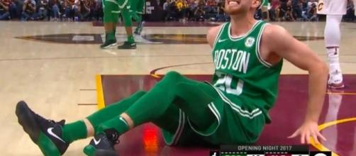 Gordon Hayward suffers injury. (Image Credit - NBA ConferenceYouTube Screenshot)