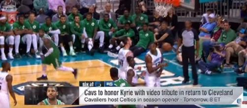 Kyrie Irving and the Boston Celtics play the Cleveland Cavaliers on October 17. -- YouTube screen capture / ESPN