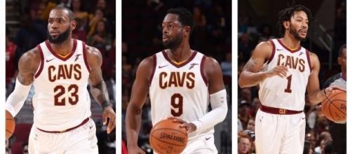 LeBron James teams with Dwyane Wade and Derrick Rose this coming NBA season. [Image via NBA/YouTube]