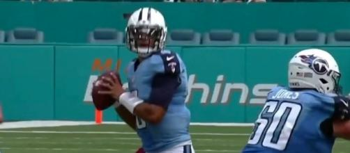 Marcus Mariota and the Titans host the Indianapolis Colts in Monday Night Football. [Image via NFL/YouTube screencap]