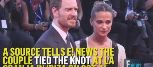 Michael Fassbender and Alicia VIkander tied the knot in a private ceremony. Image Credit: E!news/YouTube