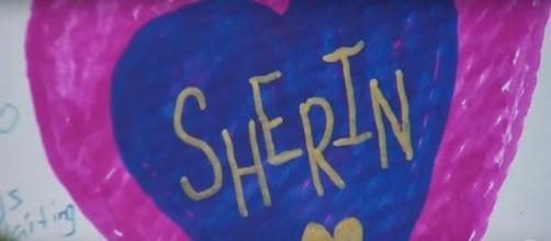 Picture left at tribute site for missing toddler Sherin Mathews'. (Image via WFAA/YouTube)