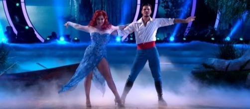 "Sasha Pieterse and Gleb Savchenko in their ""Little Mermaid""-themed performance. (Image Credit: Dancing with the Stars/YouTube)"