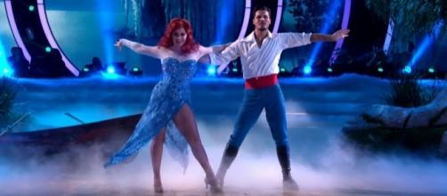 "Sasha Pieterse and Gleb Savchenko in their ""Little Mermaid""-themed performance. (Image Credit: Dancing with the Stars/YouTube)"