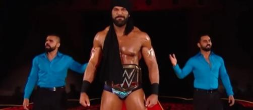 "WWE Champion Jinder Mahal has a big announcement to make on Tuesday night's ""SmackDown Live."" [Image via WWE/YouTube]"