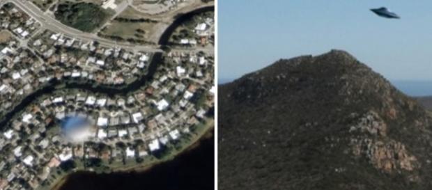 À esquerda, o suposto OVNI censurado; à direita, outra foto do Google Earth na qual supostamente haveria um disco voador. Fotos: Google Earth.